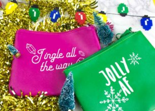 Show your holiday spirit or lack thereof with a sassy christmas clutch with Cricut! These are my favorite gifts to make and give this year!