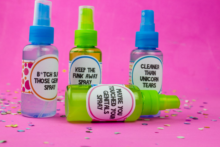 Keep germs away with this DIY Hand Sanitizer Spray and these fun colorful labels! Use your favorite essential oils for a fun seasonal gift!   Do It Your Freaking Self   #DIYHandSanitizer #wellness #essentialOils