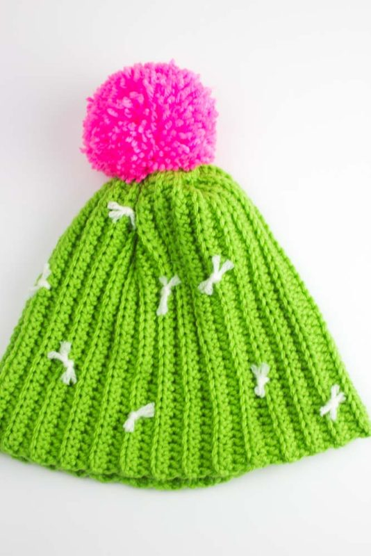 Whether you're a plant lady waiting to happen, or just have a deep love of all things cactus, this Crochet Cactus Hat Pattern is enough to make you swoon without getting prickly! | Do It Your Freaking Self | #CrochetHat #freePattern #cactusHat