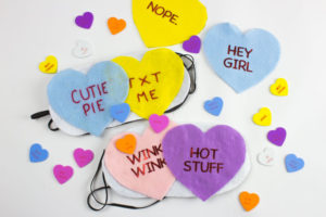 Whether you're celebrating Valentines or Galentines this DIY Conversation Hearts Sleep mask is a perfect DIY addition to any sleep over! | Do It Your Freaking Self | #Galentines #Conversation Hearts #Valentines #adultcrafts