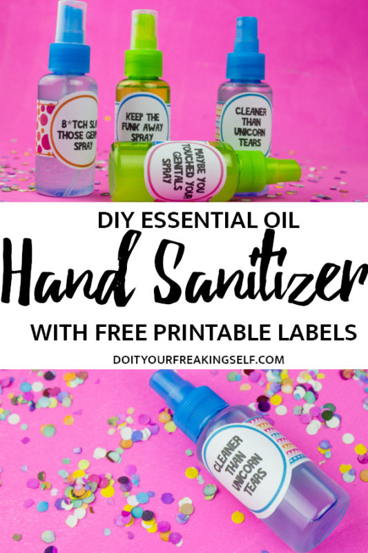 Keep germs away with this DIY Hand Sanitizer Spray and these fun colorful labels! Use your favorite essential oils for a fun seasonal gift! | Do It Your Freaking Self | #DIYHandSanitizer #wellness #essentialOils