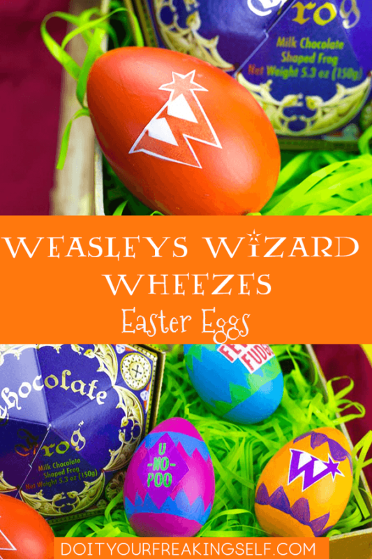 Create fun Wizarding World of Harry Potter Easter Eggs this spring! Make Hogwarts House eggs or Weasleys Wizard Wheezes inspired Eggs!