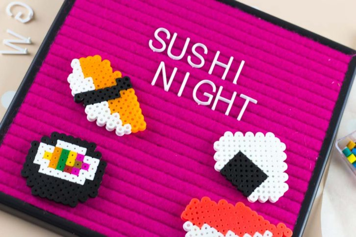 Add some fun Perler Bead Sushi Magnets to your fridge or command center with these patterns and simple tutorial. What are you waiting for?
