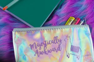 Express fabulous self with a fun Magestically Awkward Llamacorn Pencil Bag. Make custom holographic pencil bags for your fabulous self and friends!  | #GiftIdea #SchoolSupplies #llamacorn #CutFile