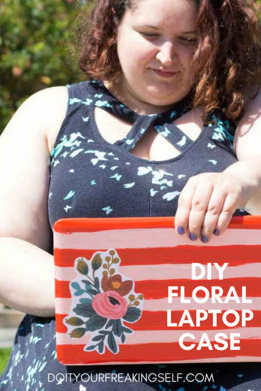 Make your own DIY Floral laptop case to protect your gear in style! #LaptopCase #SchoolSupplies #BacktoSchool - Do It Your Freaking Self