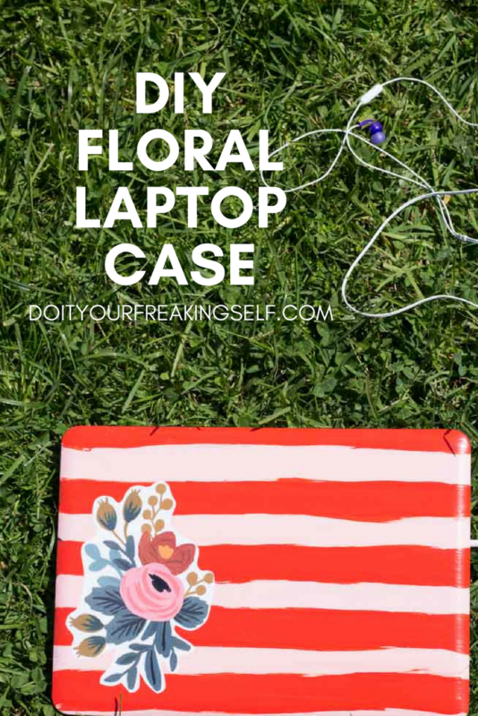 Protect your laptop from the daily grind with this fun DIY Floral Laptop Case! #backtoschool #RiflePaperCo #Floral - Do It Your Freaking Self