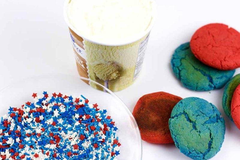 red-blue cookies - vanilla ice cream - patriotic sprinkle mix