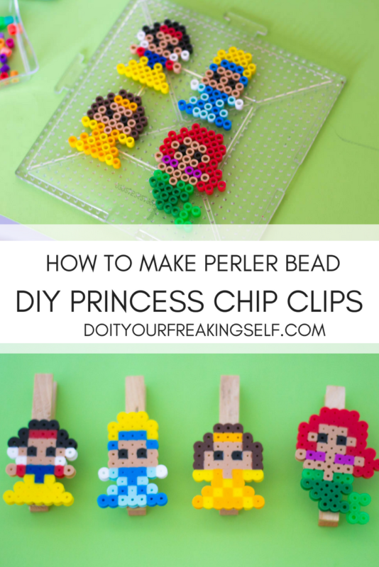 perler bead princess diy chip clips