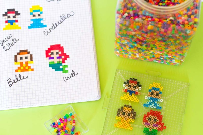 perler bead princess diy chip clips - supplies