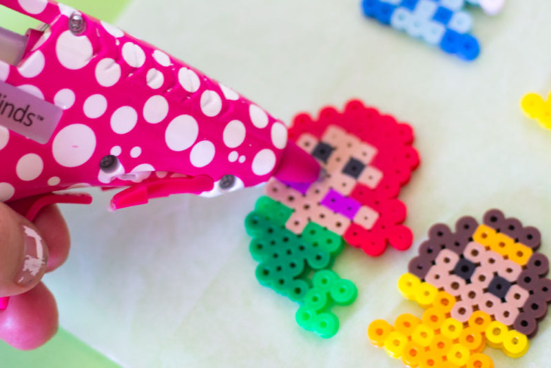 perler bead princess diy chip clips - hot glue