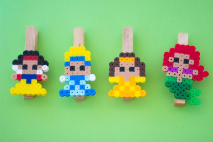perler bead princess diy chip clips