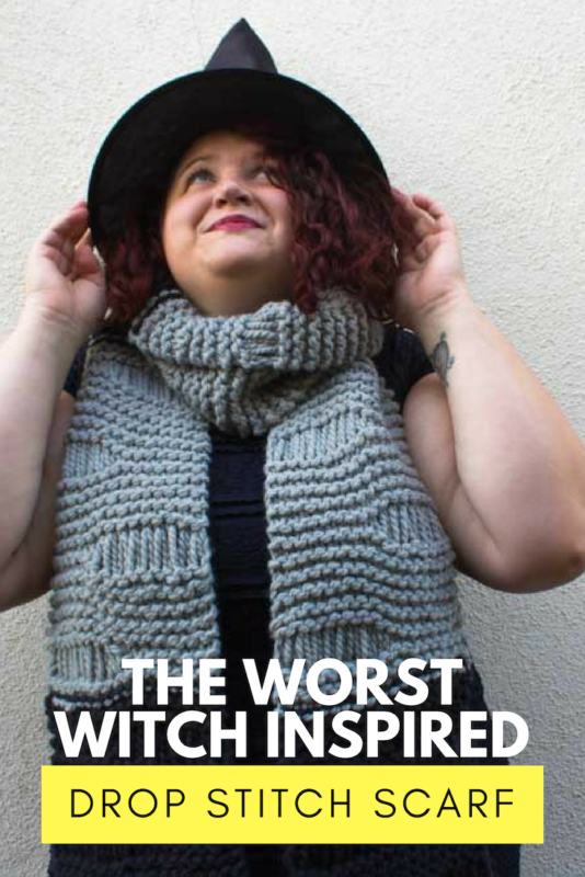 Get ready for your first day at Miss Cackles Academy with a The Worst Witch inspired Drop Stitch Scarf! Knit with chunky yarn and big needles, this scarf is an excellent weekend project! | Do It Your Freaking Self | #TheWorstWitch #DropStitch #ChunkyKnits