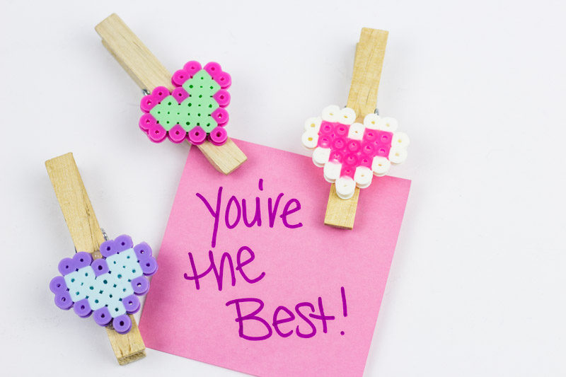 DIY Valentines Bag Clips are a fun and engaging way to add charm and festive touches to your kitchen organization efforts! | #perlerbead #pattern #valentinescrafts