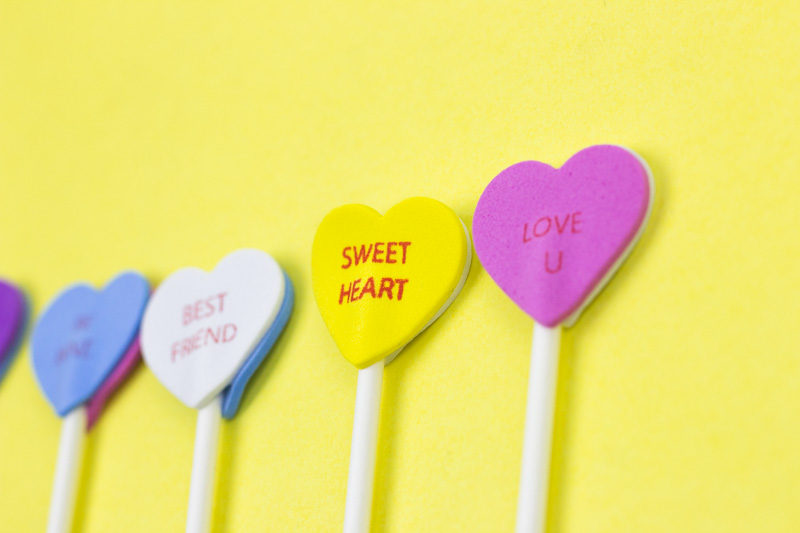 conversation hearts drink stirrers