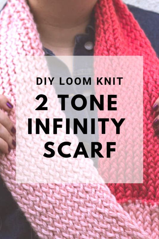 Warm up with a DIY Loom Knit 2 Tone infinity scarf. Super simple and super cozy! Perfect for the breezy weather. #loomknit #knittingpattern #infinityscarf