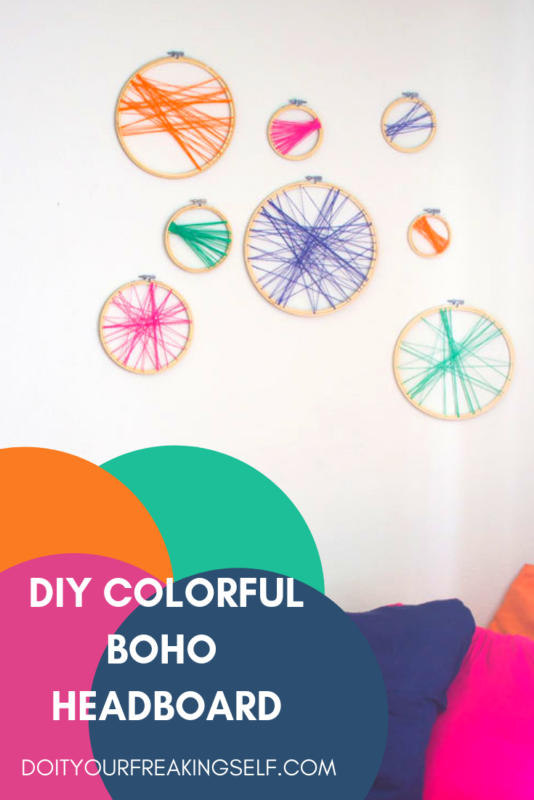 embroidery hoop headboard - diy colorful boho headboard - bohemian