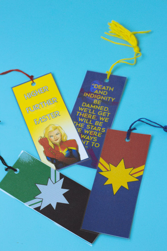captain marvel bookmarks - printable