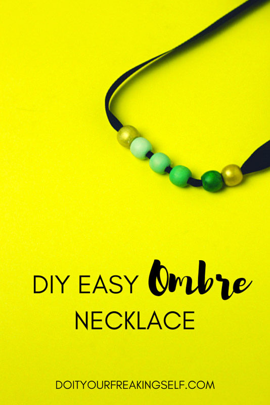green ombre - painted wooden beads - necklace - easy ombre necklace