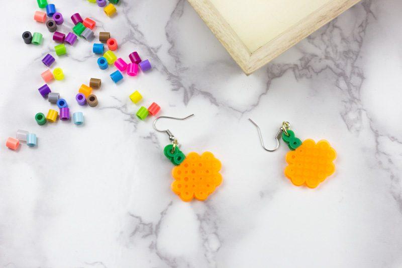 Small Pumpkin Fall Perler Bead Earrings