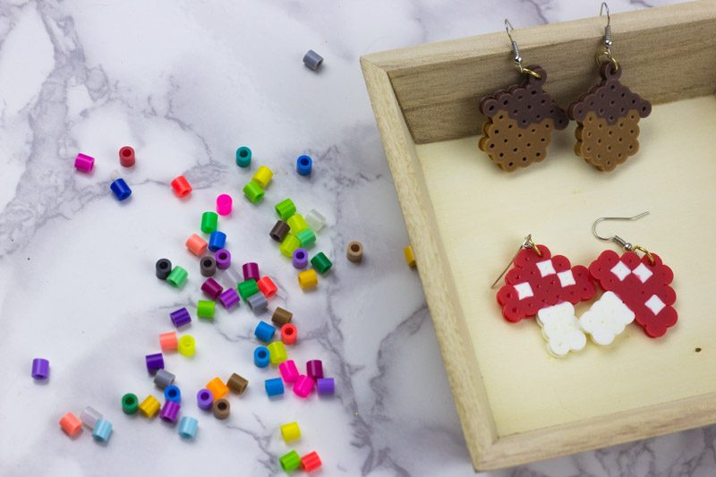 Easy DIY Acorn and Mushroom earrings! Fall Perler Bead Earrings